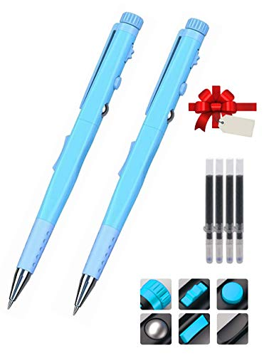 Femate A1 Stress-Relief Fidget Pen, 2-Pack Ballpoint Pens Stress Toys for Adult and Kids, Pens Anxiety Relief (Blue)
