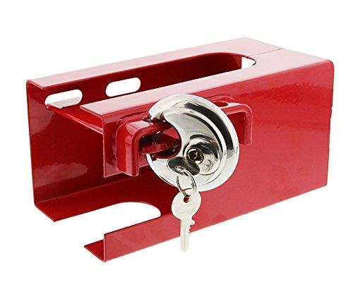 Diebstahlsicherung rot mit Riegel und Schloss für Anhänger, Trailer, Wohnwagen