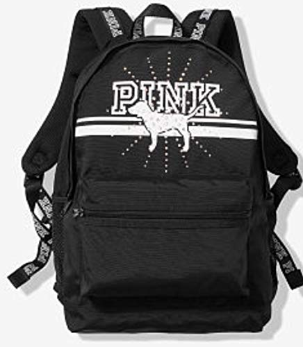 Victoria's Secret Pink Campus Backpack Large Rhinestone Dogs Black/Silver