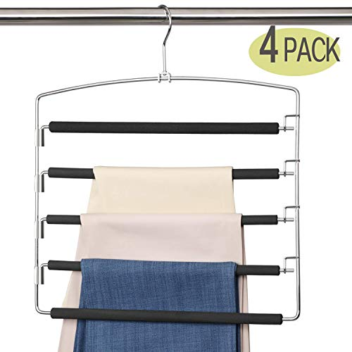 Meetu Pants Hangers 5 Layers Stainless Steel Non-Slip Foam Padded Swing Arm Space Saving Clothes Slack Hangers Closet Storage Organizer for Pants...