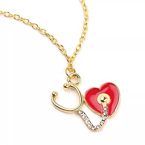SOTUVO Collar Amor corazón Estetoscopio Colgante Collar joyería médica médico Enfermera Amante Regalos Oro Plata Color Cadena collaresping