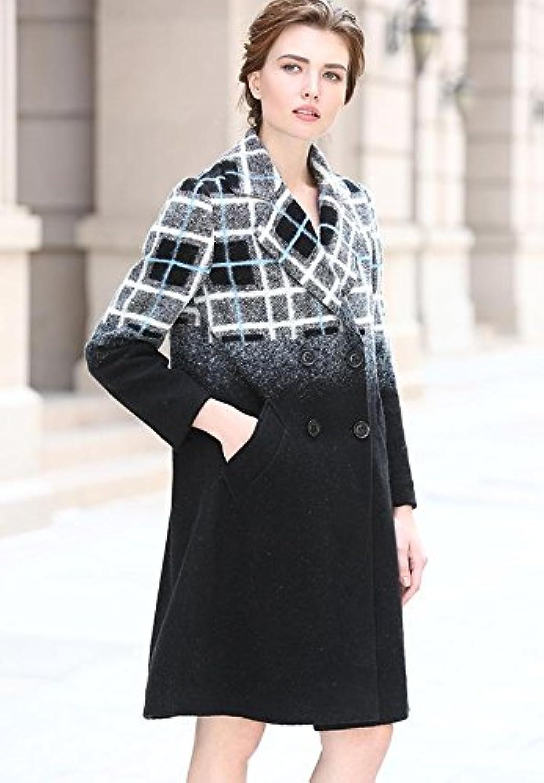 SFVGGFB GXS Winter Frauen. Zweireiher Mantel aus Wolle. Langarm Slim Trenchcoat. Karierte Wollmantel