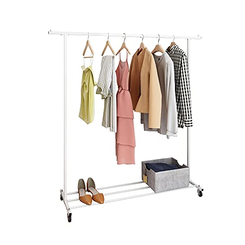 BOFENG Metal Garment Rack with Wheels Clothes Tier Rack Heavy Duty Clothes Stand Rack with Top Rod and Lower Storage Shelf Industrial Rolling Clothing Rack with Shelves for Indoor Bedroom - White