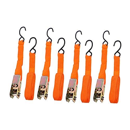 xiucai Correas de equipaje 4 piezas / Set de 15 pulgadas correas de amarre de alta resistencia, para motocicleta, camión, equipaje con ganchos (naranja) correas de equipaje (color naranja)