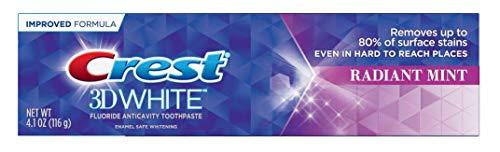 Crest 3D White Whitening Toothpaste, Radiant Mint IMPROVED- 4.1oz (116 g)