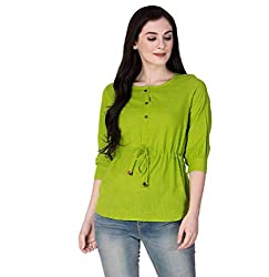 SCION Womens Beautiful Designer Green Cotton slub top for Women