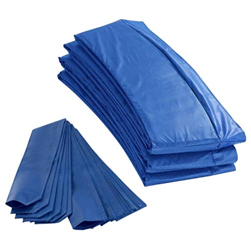 Outdoor Heights Trampoline Appearance Replacement Set, 8'x14' Rectangular Safety Pad with 12-Foam Sleeve Concealers - Blue