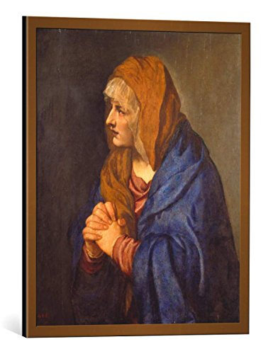 Kunst für Alle Cuadro con Marco: Tizian Mater Dolorosa mit gefalteten Händen - Impresión artística Decorativa con Marco, 45x55 cm, Cobre Cepillado