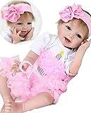 Reborn Baby Dolls Girls Look Real 22' Reborn Doll Lifelike Soft Vinyl Silicone Baby Eyes Open Children Gifts