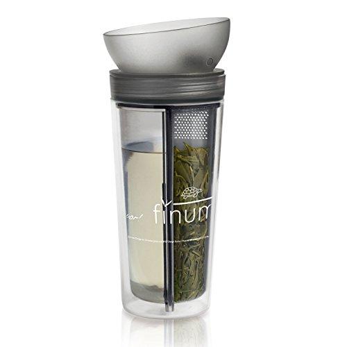 Finum TRAVELER ZITA Reisebecher to go für Tee & kalte Getränke - Reise Teebecher mit Tea Control - Thermo Trinkbecher doppelwandig mit Deckel in Form einer Tasse