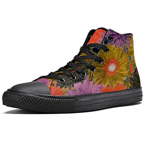 TIZORAX Vintage Crisantemo Pintar Zapatillas altas para mujer adolescente Gilrs Moda Zapatos de lona Casual Escuela Caminar Zapatos