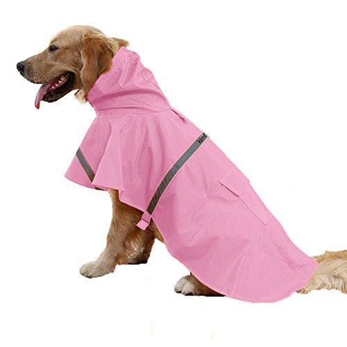 Kimfoxes Dog Raincoats Fashion Dog Rain Poncho Reflective Strips and PU Waterproof Raincoat for Dogs(S,Pink)