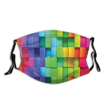 Fillter Face Cloth For mens and womens,Rainbow Colored Contour Display Futuristic Block Brick-Like Geometric Artisan,Cold Mouth Dustproof Double Protection