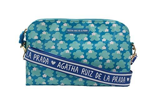 Agatha Ruiz de la Prada Bandolera bolso grande de mujer plastificada estampada con nubes azules