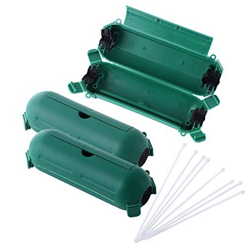 Colmanda Caja Protectora IP44, Caja de Protección para Enchufes Jardín, Caja de Protección para Enchufes y Conexiones para Exterior Lata Contra la Impermeable, Nieve, Lluvia, Polvo (Verde-2)