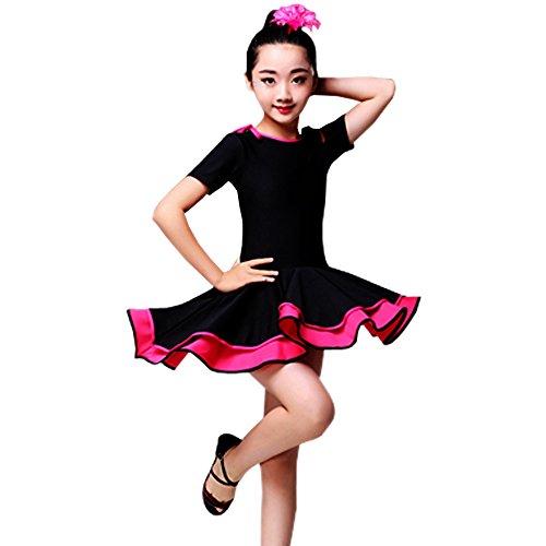 KINDOYO Mädchen Kinder Tanz Kleidung Doppel Saum Latein Tanzkleid Übung Performances Wettbewerb Kostüm, Stil-1/130