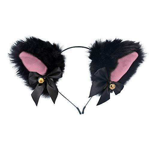 Dodheah Haarreif mit Katzenohren, Fuchs-Kopfband, Kostüm, Haarspange, Haarreifen, Haar-Accessoires für Frauen und Mädchen, tägliche Dekoration und Party Gr. One size, Schwarz / Pink
