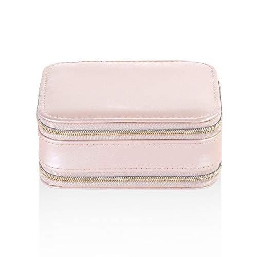 YNuo Bijoux Voyage Portable Boîte de Rangement Boucles d'oreilles Anneau Collier de Bijoux boîte en Cuir PU Ladies cosmétiques Beauté Boîte de Rangement (Color : Pink)