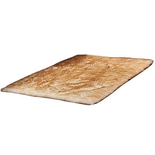 HotYou Alfombras, Lavable Material de Lana Artificial Alfombra Decorativo Sala de Estar y Dormitorio,Blanco Amarillo,60 * 150CM