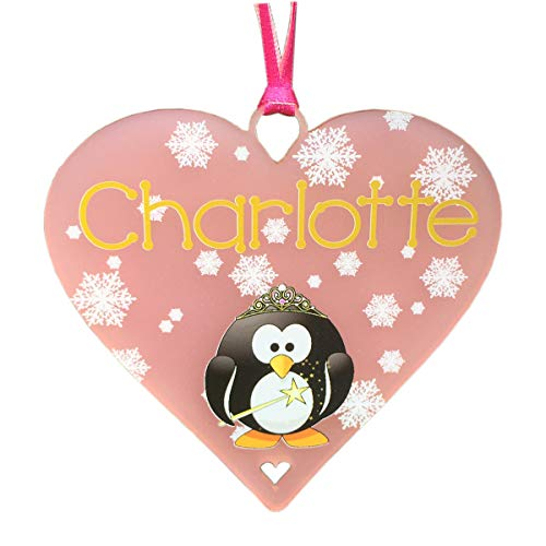 Penguin Christmas Decoration 2021 Personalised Name Xmas Tree Decorations Presents or Penguin Princess Bauble ANY NAME Plaque Gift Babies 1st Present (Pink Acrylic - 10cm Heart)