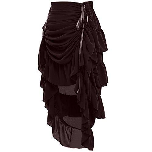 GRACEART Women's Victorian Steampunk Skirt - (Brown) Medium
