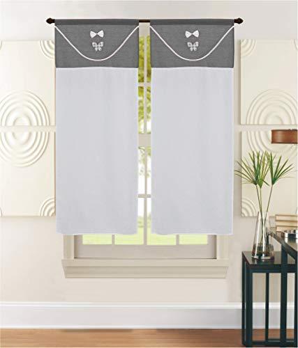 EUROSTYLE Cortinas de ventana de cristal para dormitorio, baño, cocina, salón de diseño moderno Shabby tirolés (60 x 240 cm, modelo Lille gris)