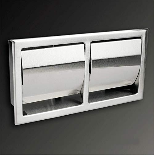 AGUTE 2 Fach Toilettenpapierhalter aus hochwertigem Edelstahl, Matt, Unterputz zum Einbau, Platzsparend, Sandmatt-2H