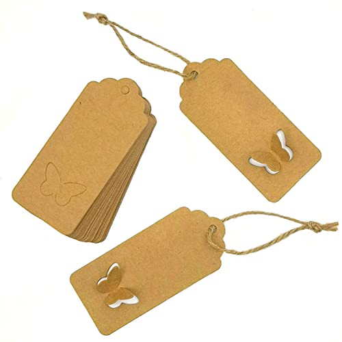 MAFELOE Kraft Paper Tags Gift Tags 100Pcs with 100M Twine String for Wedding Valentine's Day Birthday Decoration, Butterfly Shape Tag Gift Packaging Label Brown Craft Hang Tags