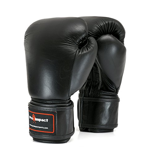 Pro Impact Boxing Gloves - Durable Knuckle Protection w/Wrist Support for Boxing MMA Muay Thai or Fighting Sports Training/Sparring Use (14 Oz, Black Genuine Leather)