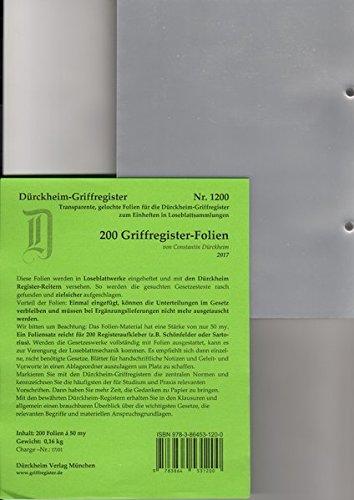 200 DürckheimRegister-FOLIEN für STEUERGESETZE, SCHÖNFELDER u.a; zum Einheften und Unterteilen der roten Gesetzessammlungen: 200 transparente FOLIEN ... H. Beck zum Einheften der DürckheimRegister