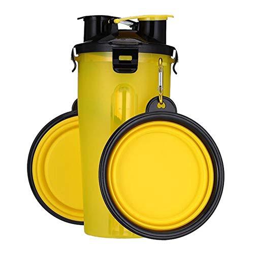 Portable Pet Silikonschale und Vorratsbehälter für Lebensmittel, 2-in-1-Hundewasserflasche Hundefutter Vorratsbehälter und Faltbare Silikonschale, Geeignet für Reisen im Freien, Candy Farbe,Gelb,XXL