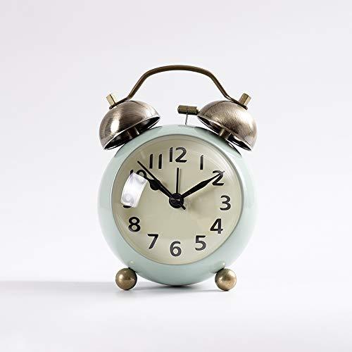 yzdhha Metal Pequeño Reloj Despertador Estudiante con El Interruptor del Interruptor De La Cabecera Sit-Silencio Reloj Sonido De Ruido Mecánico De Gran Tamaño 3 Pulgadas Verde
