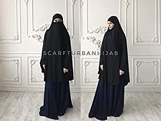 Black long hijab khimar, Muslim jilbab, islamic clothing, EID gift idea, Hajj