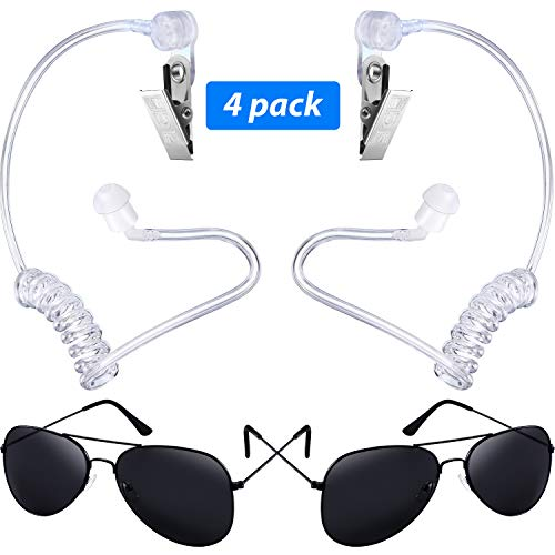 Gejoy 4 Pieces Playing Cosplay Toy Includes Earpiece Earplugs Acoustic Tube Headset and Sunglasses