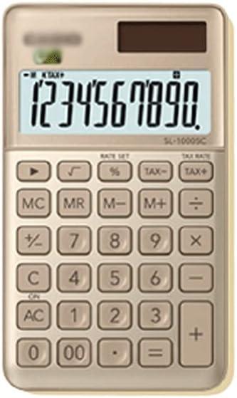 swq Desktop Calculator,10-Digit Display Mini Kawaii Gold,Solar Battery Dual Power Supply Silent,Elementary School Students (Color : Pink)
