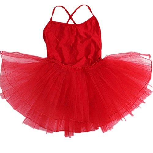Happy Cherry - Leotardo Ballet de Tirantes Vestido de Baile Tutú para Niñas Infantil 6-7 Años - 110-120cm Rojo