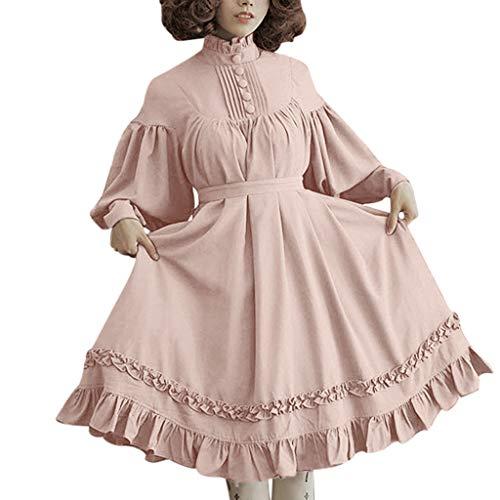 LOPILY Kleider Damen Vintage Lolita Kostüme Kleid Damen mit Trompetenärmel 46 44 42 Rüschen Prinzessin Midikleid mit Knopfen Halloween Kostüme Damen Karneval Faschingskostüm Mädchen (Rosa, 44)