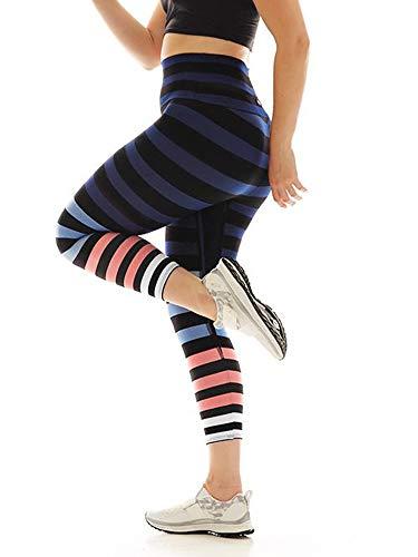 K-DEER Signature Stripe Activewear Leggings, Molly/Capri Length, Medium