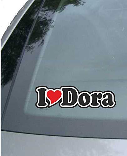 INDIGOS UG - sticker - autosticker - I Love Heart - Ik hou van met hart 15 cm - I LOVE Dora- Auto LKW Truck - Sticker met namen van het kind van de manvrouw