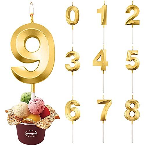 Candele di Compleanno Numbero, Candele di Compleanno Oro Glitter, Candele Torta,Adatto A Feste di Compleanno, Feste di Anniversario di Matrimonio, Serate di Laurea (9)