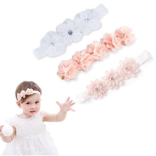 Bandeau Bébé Fille , Headband bebe fille, Bébé Bandeaux Bébé Fille Bandeau , Lot de 3 bandeaux à fleurs pour bébé fille , Parfait Cadeau, Bandeau Cheveux élastique,pour Bébé Fille 0-4 Ans