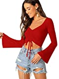 SweatyRocks Women's Adjustable Drawstring String Long Bell Sleeve Rib Knit Sexy Crop Top Red M