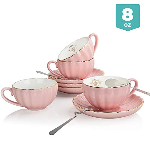 Buy Cheap Sweejar Royal Ceramic Tea Cups and Saucers Set, 8 Ounce for Espresso Cups, Cappuccino Cups...