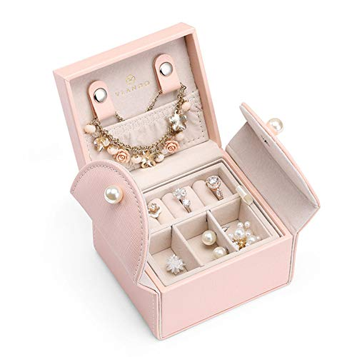 M/P Travel Jewelry Storage Box, Leather Jewelry Organizer Rings Case and Earrings Necklaces Bracelets Holder Organizer for Women and Girls