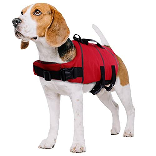 PUMYPOREITY Giubotto Salvagente per Cani Gliet Salvataggio LifeSaver Vest Salvagente Protettivo Giacca Nuoto Mare con Fissaggio Regolabile e Manico per Cani di Taglia Piccola Media Grande(L)
