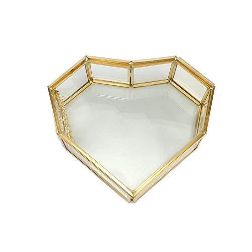 Elegante glazen tafelvitrine voor verloving, trouwring, sieradendoosje voor huishoudtextiel.