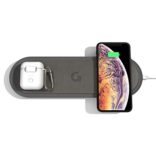GAZE Fast Triple Wireless Charging pad with Additional USB-A Ports, Qi Certified 10W Wireless Charger Station Compatible for iPhone 8 or Newer AirPods Galaxy S10/Buds AC Adapter (Gray)