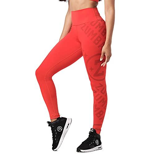 Zumba Comfy Elastici Fitness Leggings a Vita Alta Fitness Pantaloni Donna da Allenamento, Red Smiles, XXL