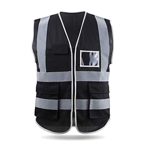 HYCOPROT Sicherheitswesten Warnweste Hohe Sichtbarkeit Reflektierendes Mesh Weste Executive Manager Workwear Jacke Zip 2 Band Brace Sicherheit Handytasche Ausweishalter (XX-Large, Schwarz)
