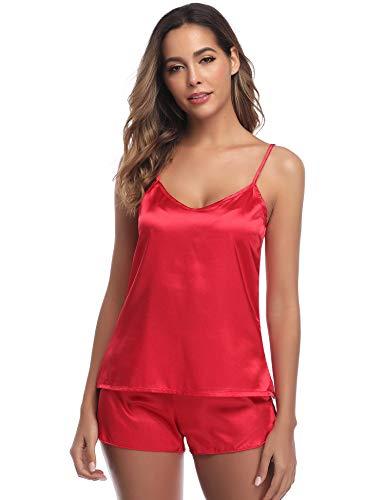 ARBLOVE Pijama Mujer Seda Verano Cortos 2 Piezas sin
